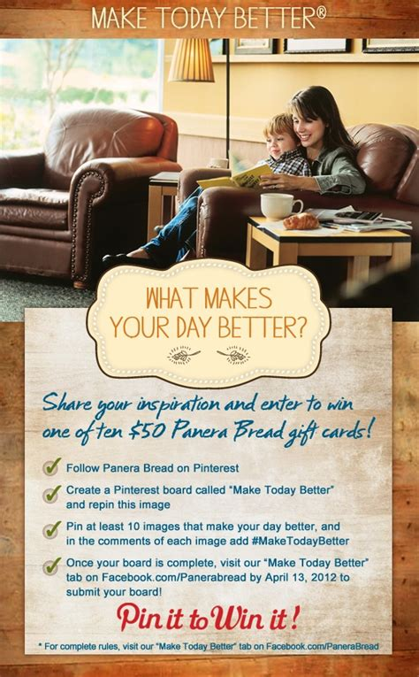 Panera Bread Gift Card Pin - what makes your day better create a board that shares your inspiration for a chance