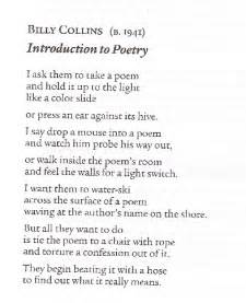 Introduction to poetry poem by billy collins poem hunter 2016 car