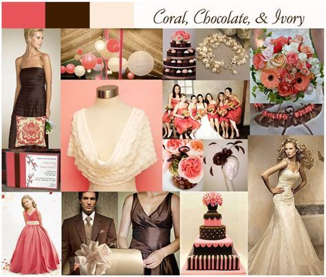 coral, chocolate, and ivory perfect for a vintage theme