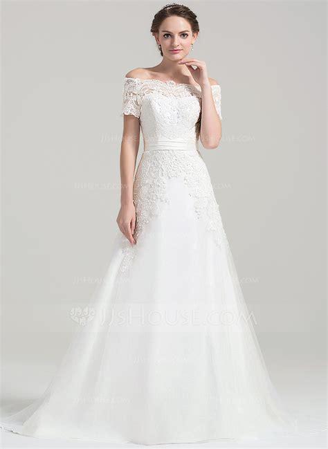 Shoulder Lace Wedding Dress a line princess the shoulder court tulle lace