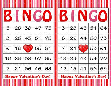100 valentine bingo cards printable by celebratelifecrafts