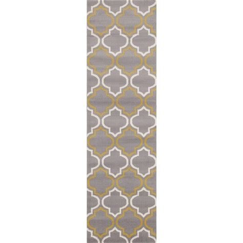 Yellow And Grey Runner Rug World Rug Gallery Modern Moroccan Trellis Gray Yellow 2 Ft X 7 Ft 2 In Runner 9101 Gray