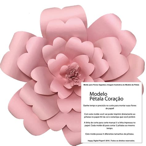 moldes de flores de papel molde da flor de