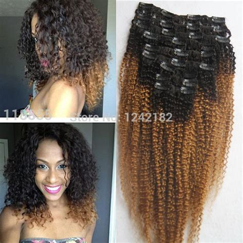 Hairclip Revo Curly 75cm two tone t1b 27 color ombre clip in hair extensions 9pcs human afro curly