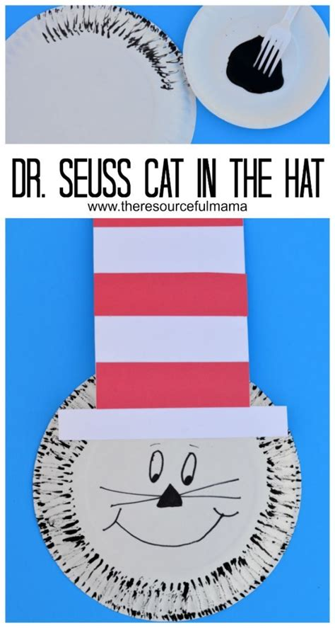 Cat In The Hat Paper Plate Craft - dr seuss the cat in the hat paper plate and fork painting