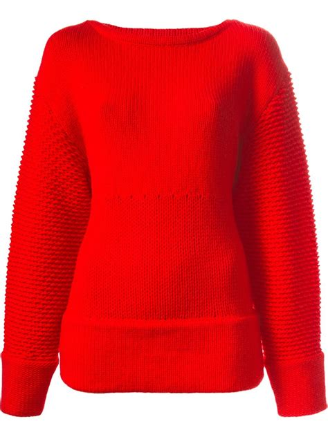 lyst helmut lang textured oversized sweater in