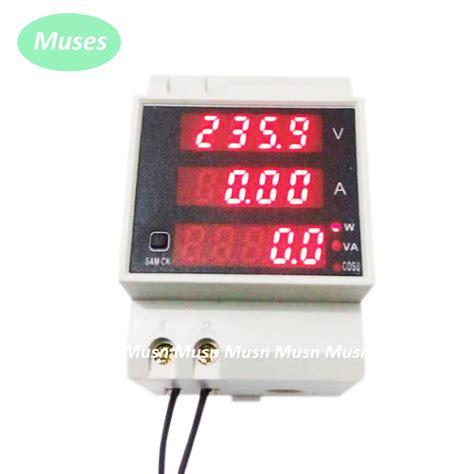 Watt Meter Ac 220 Volt 100a 4 Display Din Rel ac 110v 220v digital led din rail100a power meter ammeter voltmeter 80 300v volt watt meter