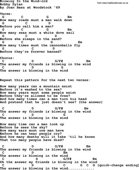 testo blowing in the wind joan baez song blowing in the wind lyrics and chords