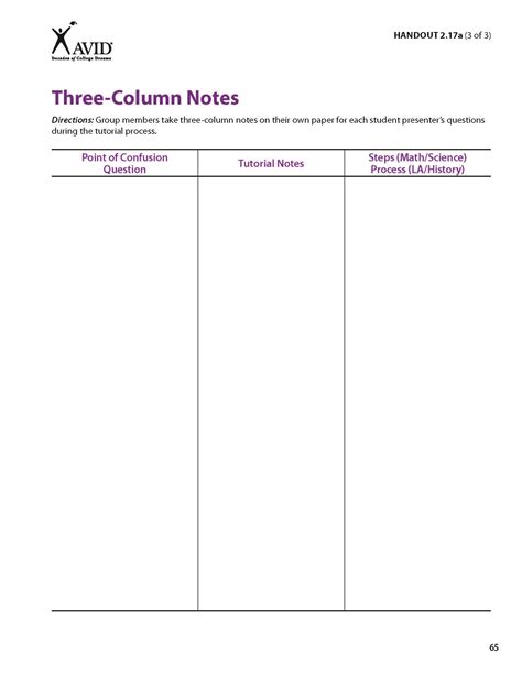 3 column notes template gallery of blank cornell notes template word avid document