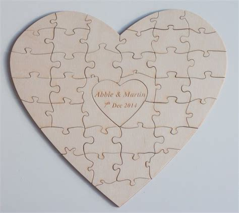 Personalised Heart Shapes Wedding Guestbook Jigsaw Puzzle Individually Designed Laser Cut Laser Cut Puzzle Template
