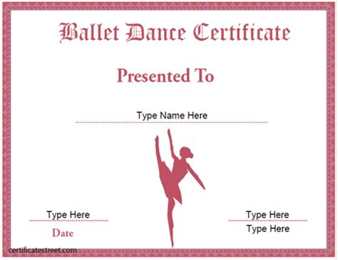 templates for dance certificates certificate street free award certificate templates no