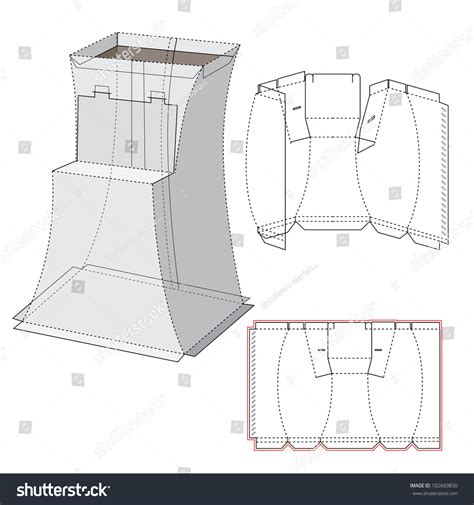 curved box template curved display box diecut pattern stock vector 102669830