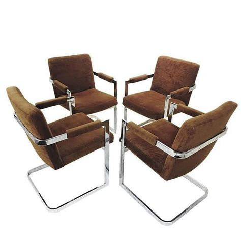 Cantilever Dining Chairs Set Of Four Brown Velvet Milo Baughman Chrome Cantilever Dining Chairs At 1stdibs