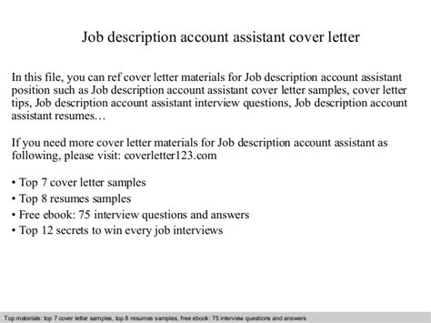 description of cover letter description account assistant cover letter