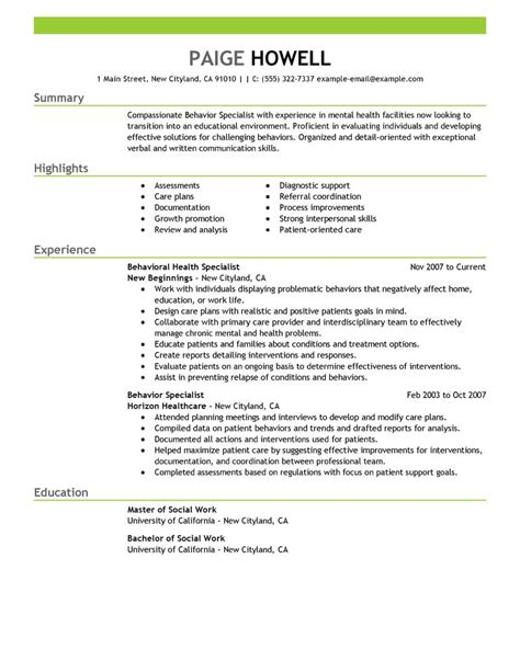 Resume For Career Change To Social Work Behavior Specialist Resume Exles Social Services Resume Sles Livecareer