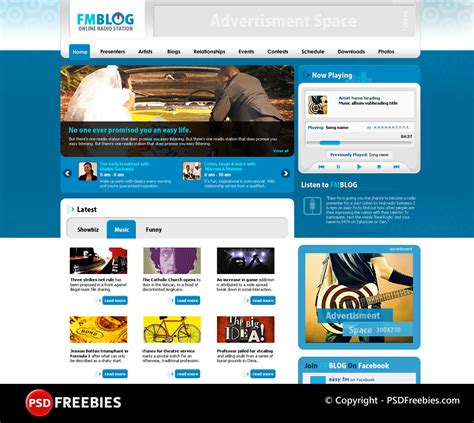 templates for music website free download fm blog free psd template at downloadfreepsd com