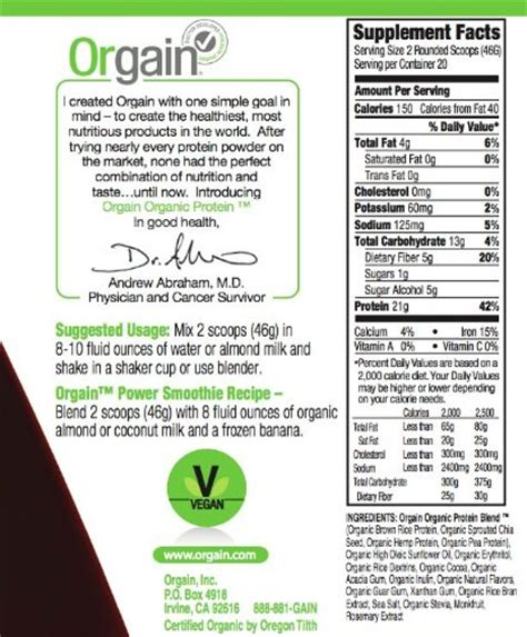 b protein powder protein content orgain organic protein plant based chocolate