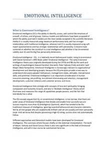 Intelligence Essay by Emotional Intelligence