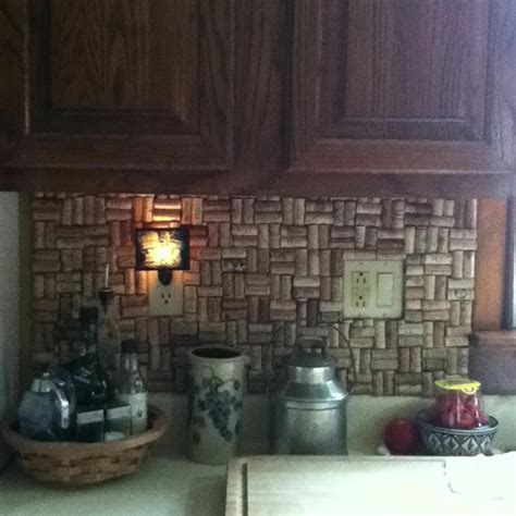 wine cork backsplash interior design