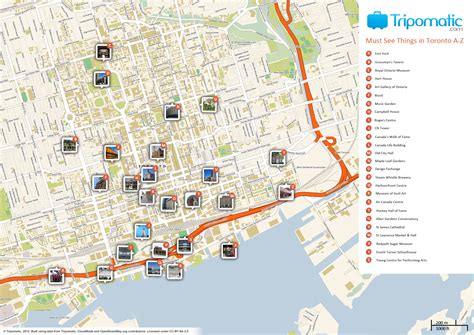 map of tourist attractions file toronto printable tourist attractions map jpg