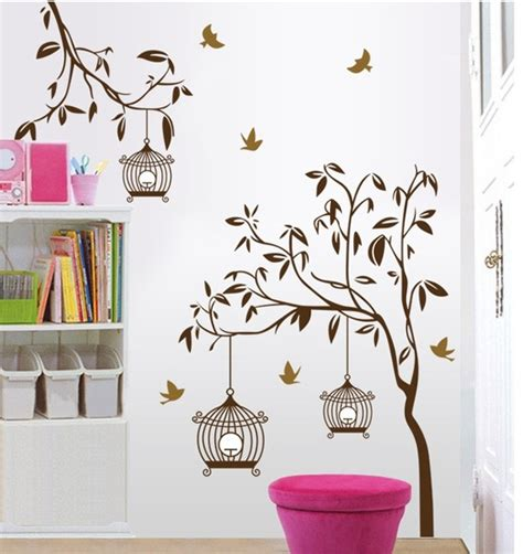 bedroom wall stickers for adults brown tree wall stickers decals women birdcage plants
