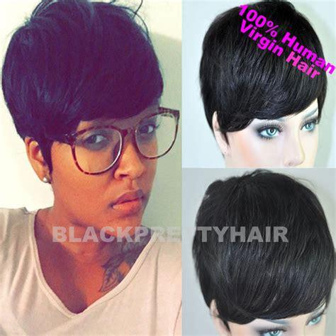 copons for brizilian hair short style cheap short pixie cut human natural black brazilian hair