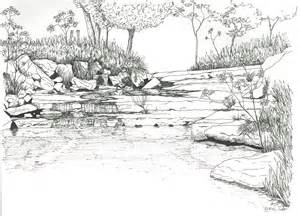 River Landscape Coloring Pages Sketch Page sketch template