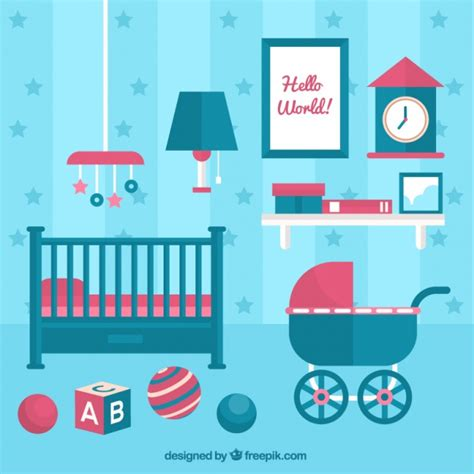 blue baby crib blue baby room with crib and stroller vector free