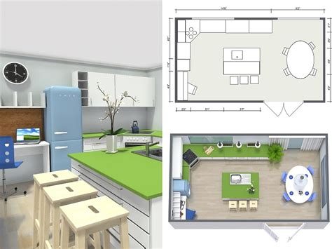 Open Floor Plan Layout by Plan Your Kitchen With Roomsketcher Roomsketcher Blog