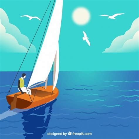 sailing boat background background of boy sailing on his boat vector free download