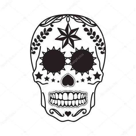 imagenes de calaveras a blanco y negro tatuaje de calavera mexicana en negro sobre un fondo