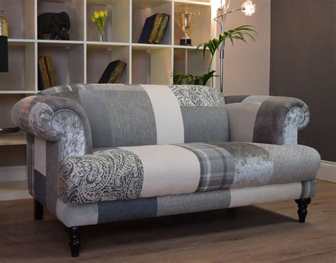 Patchwork Sofas - aspen 2 seater sofa patchwork grey silver out