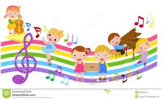 Music note clipart for kids children with music notes stock vector