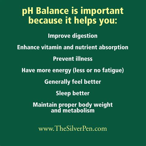 proper ph balance is critical for good health ph balance the silver pen