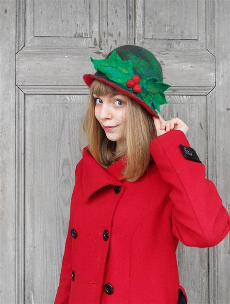 unique elegant felted hat woman christmas hat green red