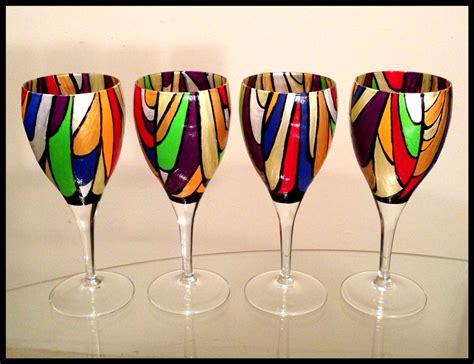 Handmade Glassware - crafted painted wine glasses abstract colorful