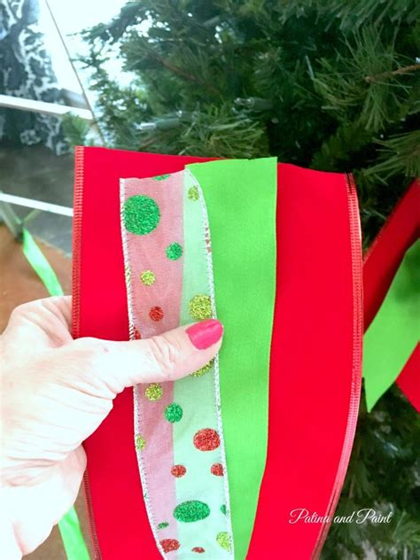 how to put ribbon on a christmas tree how i put ribbon on my tree patina and paint