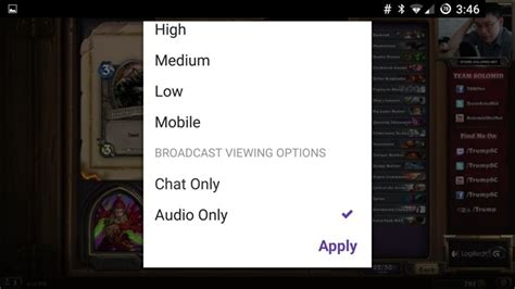 Android Audio Only twitch audio only modus nu beschikbaar voor android