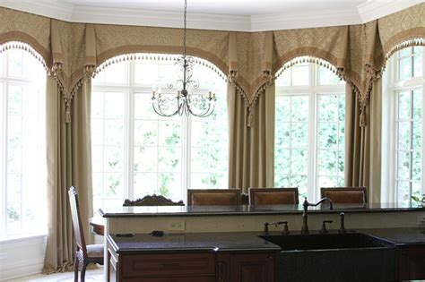 kitchen curtains for bay windows bay window curtains glencoe il traditional kitchen