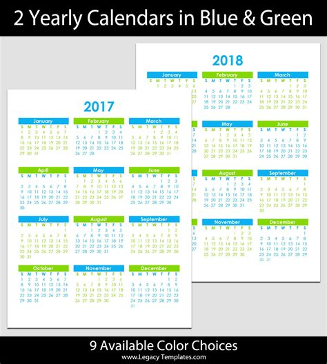 2017 2018 yearly calendar 8 1 2 quot x 11 quot legacy templates