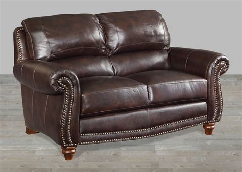 leather loveseat brown leather loveseat with nailheads