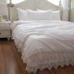 free shipping snow white lace bedding