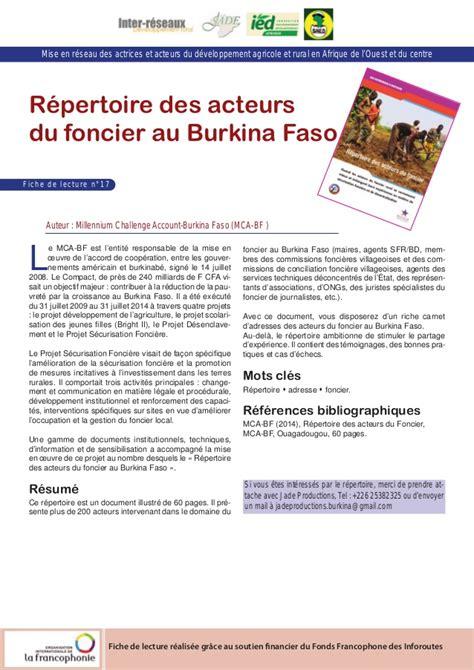 rpertoire des difficults du r 233 pertoire des acteurs du foncier au burkina faso