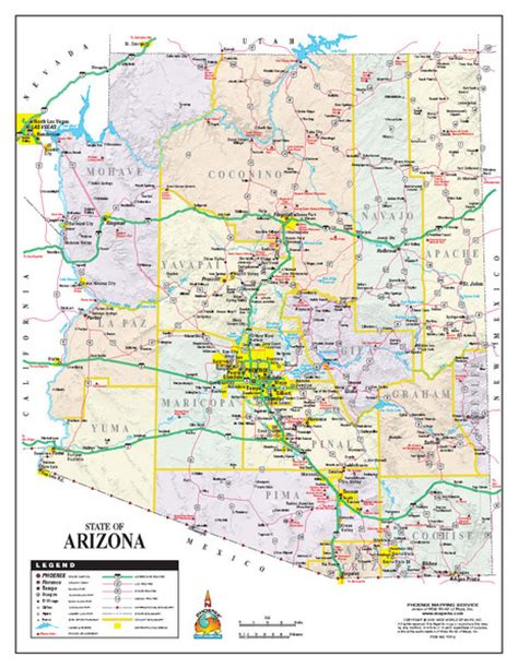 arizona state on us map arizona state road map arizona us mappery