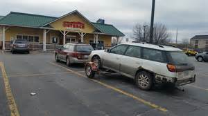 Can A Subaru Outback Tow A Cer An Outback Towing An Outback Stopped At Outback They