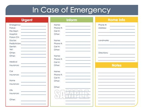 printable emergency card template in of emergency printable organizing pdf instant