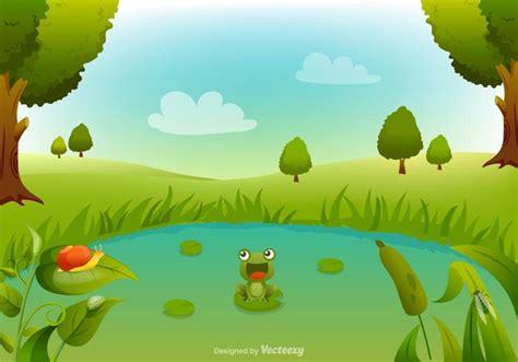 swamp cartoon vector background   vector art