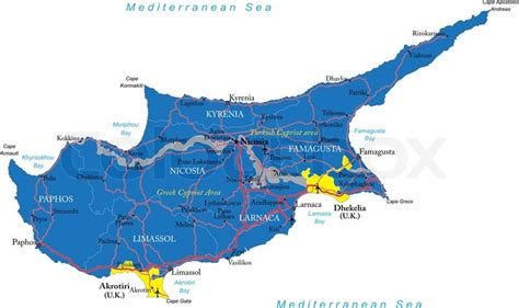 cyprus map vector highly detailed vector map of cyprus with administrative