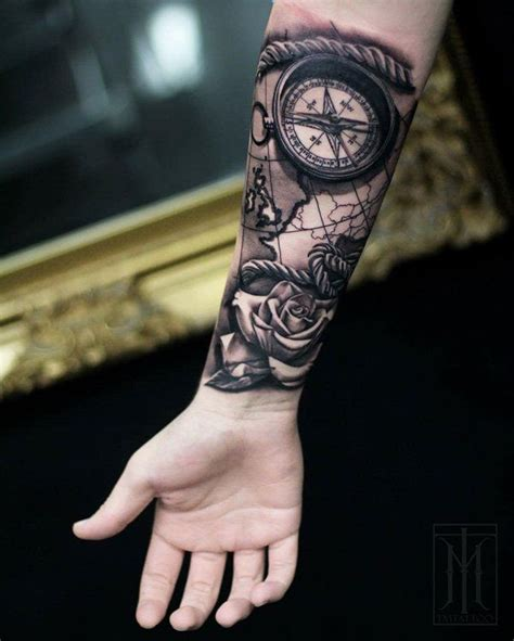collection of 25 elbow compass tattoo design