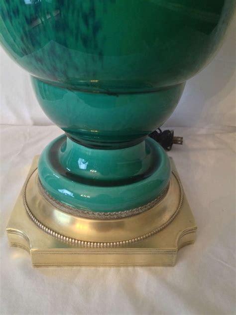 peacock turquoise glazed ceramic l on brass base at 1stdibs